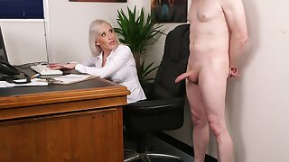 Office blonde wants the new guy's dick forth a unceremonious CFNM tryout