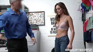 Acquiescent looking woman Aila Donovan gets punished for shoplifting