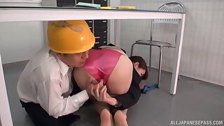 Worker fucks Japanese female with big tits close to risible XXX play