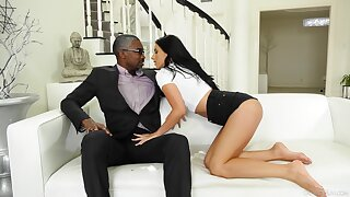 Black beggar gives brunette looker Nelly Kent all she needs and more