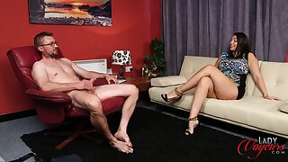 Leafless dude strokes his penis while sexy Sophie Parker masturbates