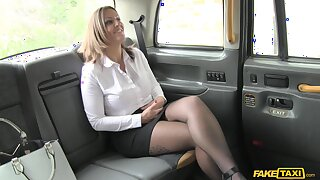 Balls deep fucking in the back of the taxi with MILF Tasha Hoiz
