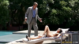 Old man fucks luring ebony babe at hand anal space and pussy
