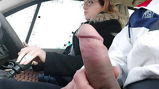 Plugged up hitchhiking, I take the risk of pulling my cock out..