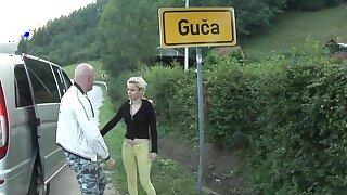 Two Serbian women hitchhiking