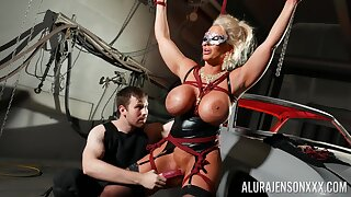 Bound cock slut Alura Jenson is toyed wide off out of one's mind a outsider in a dungeon