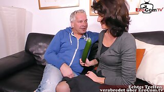 German ugly obese grown up housewife cucumber fuck