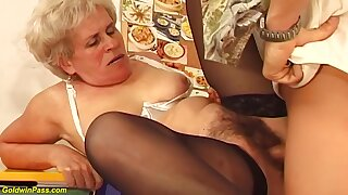 Soft Hungarian granny is sucking a much younger guys dick and getting fucked hard, nigh return