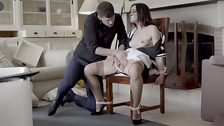 Hot live-in lover Valentina Bianco tied to a professorship coupled with fucked good
