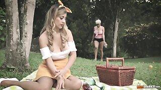 Outdoors lesbian sex between blondes Amaranta Hank and Ashley Old